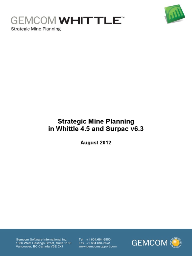 Strategic mine planning surpacwhittle net present value mining fandeluxe Gallery