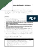 Handwriting Practices and Procedures