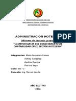 Importancia Del Departamento de Contabilidad en El Sector Hotelero