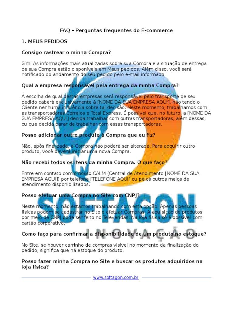 77aa1efa7 FAQ – Perguntas Frequentes Do E Commerce