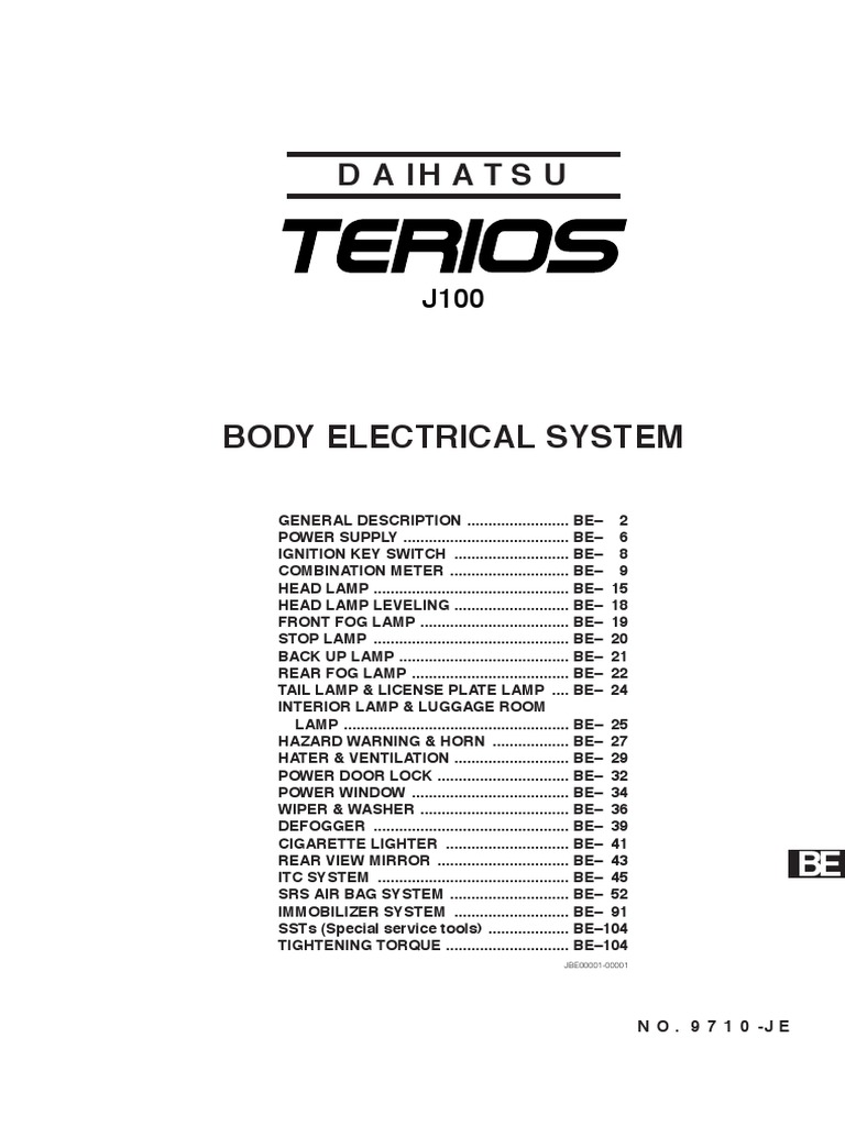 Terios Workshop Manual | Electrical Connector | Color on