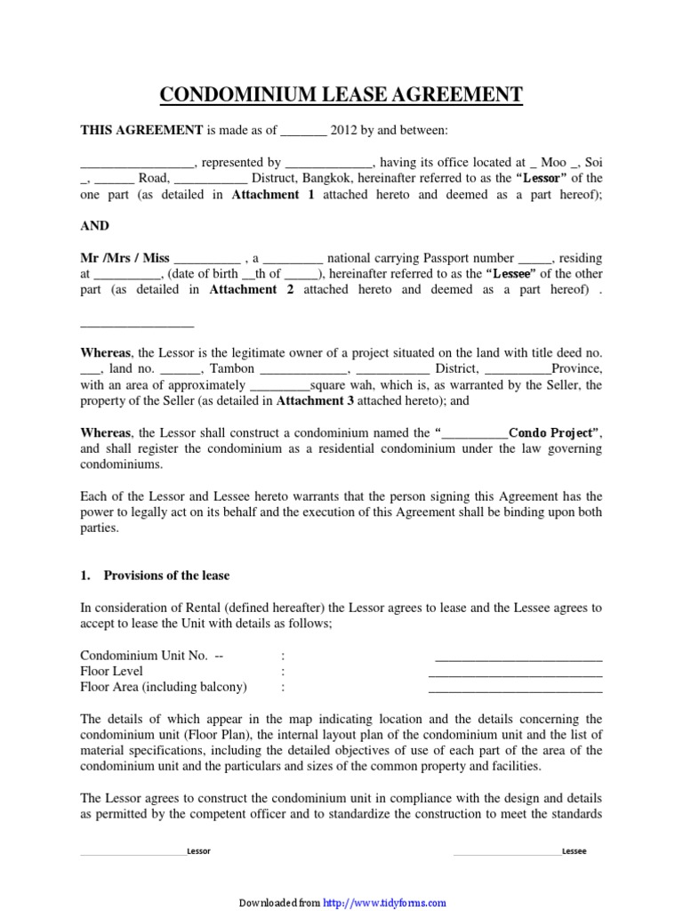 Condominium Lease Agreement Lease Property Law