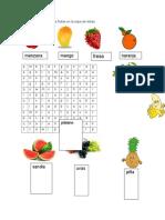 Busca El Nombre de Las Frutas en La Sopa de Letras