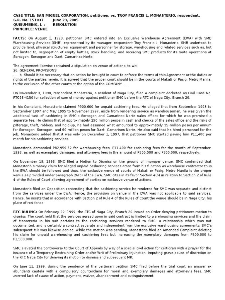 San Miguel V Monasterio Lawsuit Complaint