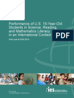 Performance of U.S. 15-Year-Old Students in Science, Reading, and Mathematics Literacy in an International Context