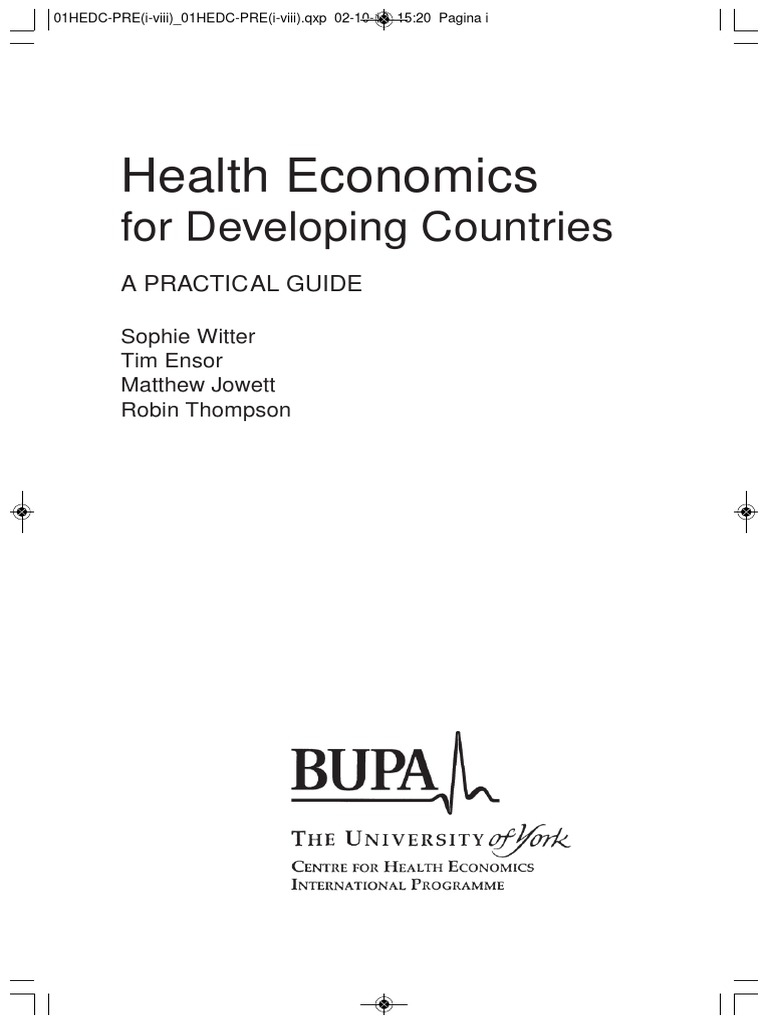Health Economics for Developing Countries - A Practical Guide 2000 | Gross  Domestic Product | Economics