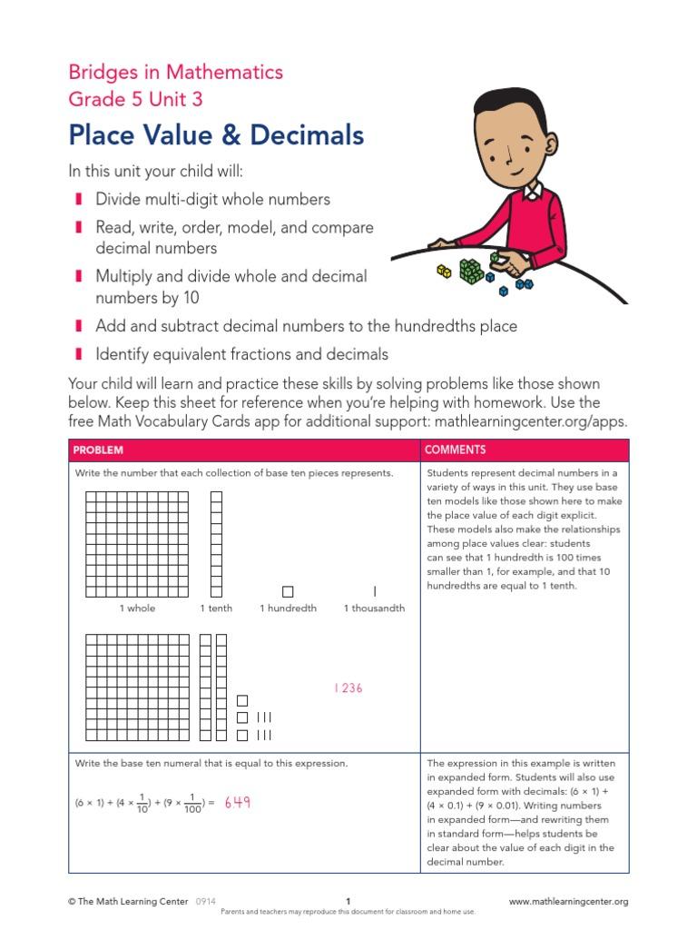 Place Value & Decimals: Bridges in Mathematics Grade 5 ...