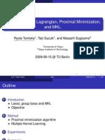 Dual Augmented Lagrangian, Proximal Minimization,  and MKL