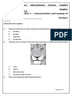 Characteristics of Living Organisms Worksheet 1 of Chapter 1 Grade 8