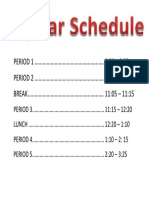 Regular Schedule