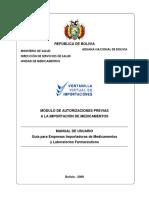 GUIA PARA IMPORTACIONES DE MEDICINAS BOLIVIA
