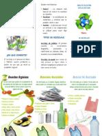 Triptico El Reciclaje