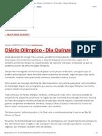 Diário Olímpico - Dia Quinze - Blog Do Dodô Azevedo