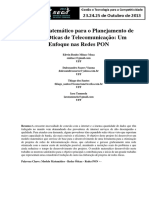 Modelo Matemárico Para Planejamento de Rede Opitca