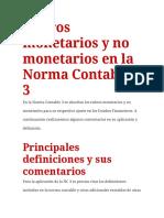 Rubros Monetarios y No Monetarios en La Norma Contable 3
