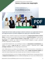 02-12-16 Buscan gobiernos de Sonora y Arizona crear megarregión próspera. -SDP