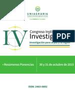 Memorias IV Congreso Inst de Inv Uniagraria