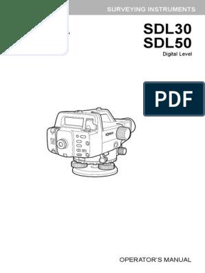 Sokkia Sdl30 Digital Level User Manual