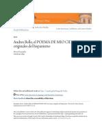 Andres Bello El POEMA de MIO CID y Las Ruinas Originales Del Hispanismo
