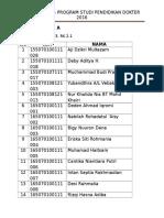 Daftar Kelas Program Studi Pendidikan Dokter 2016 1
