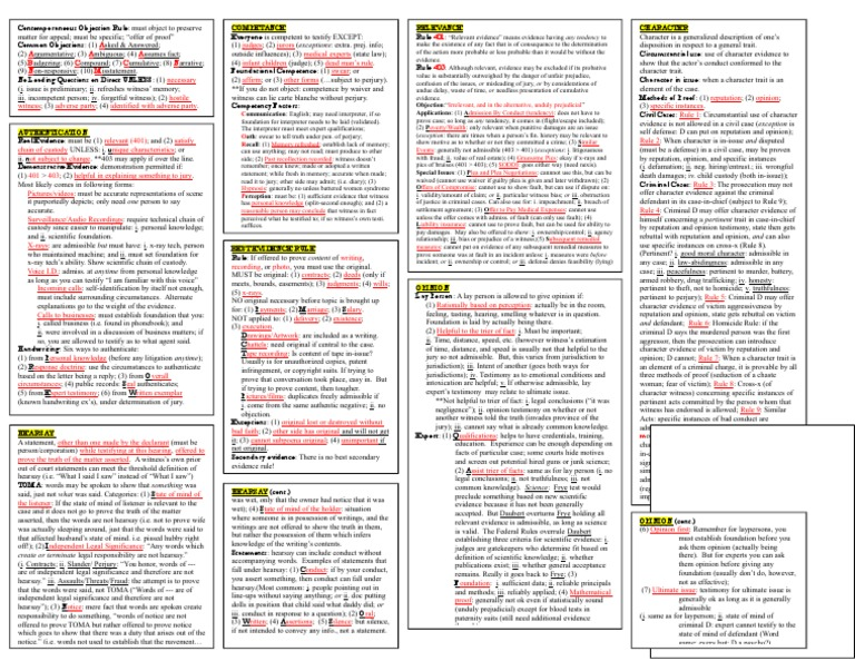 memory sheet page 1 evidence law hearsay
