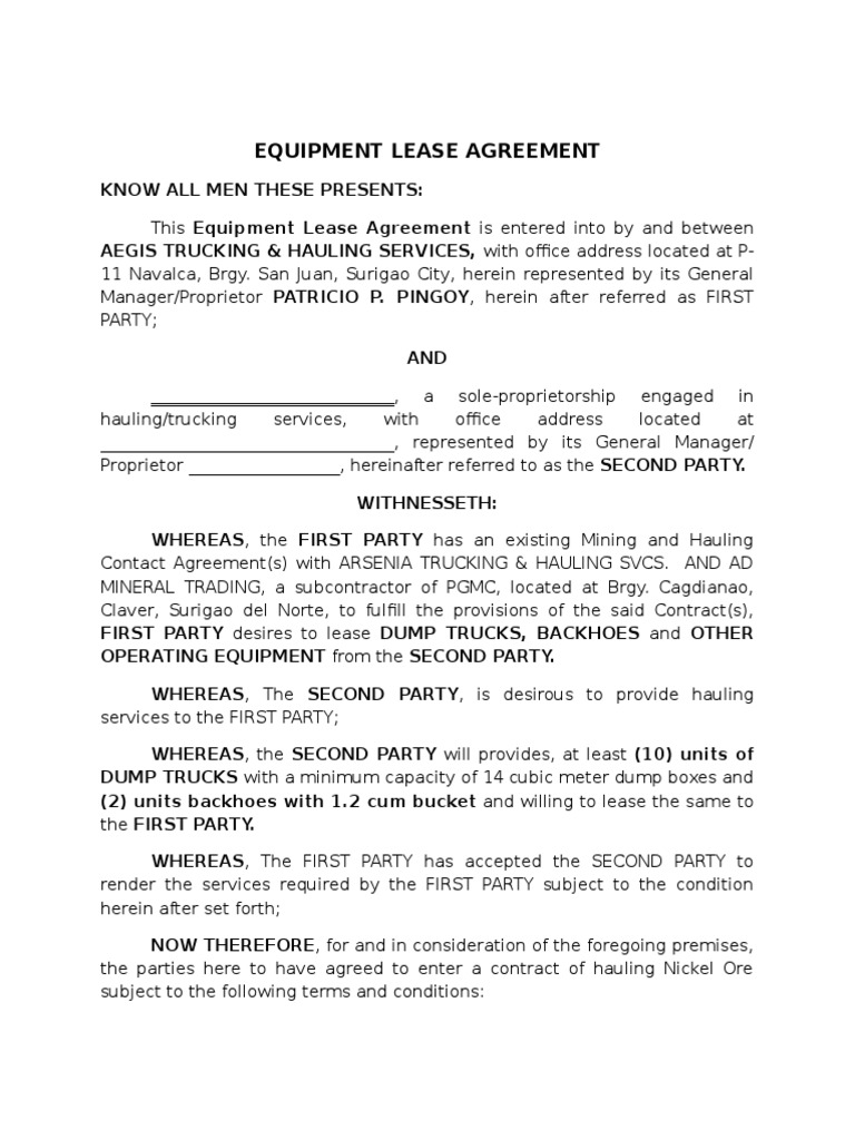 Aegis Subcon Romy Masalahit Equipment Lease Agreement Withholding