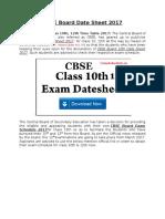 CBSE Board Date Sheet 2017