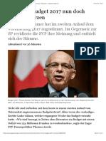 SVP lässt Budget 2017 nun doch nicht abstürzen - Schweiz