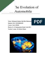 The Evolution of the Automobile, Mohamad Qulam Zaki