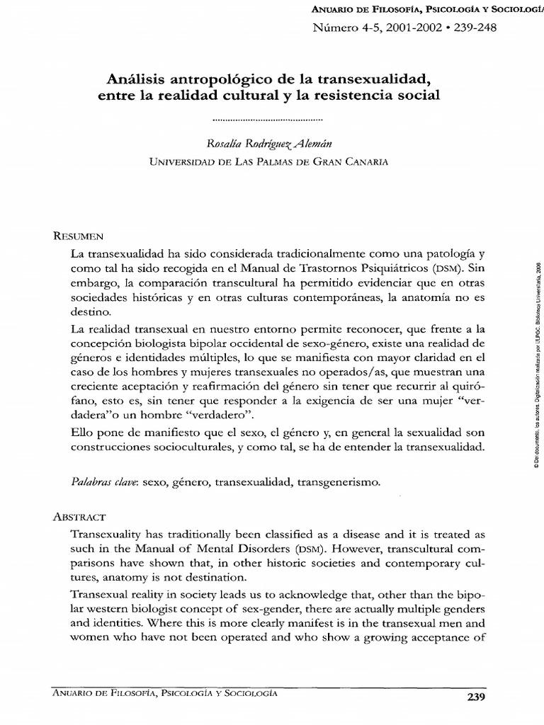 Analisis Antropologico de La Transexualidad Entre La Realidad ...