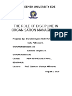 The Role of Discipline in Organisation Management Saliu
