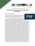 El Plan de Kirchnner Es Un Viejo Plan Peronista