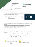 1ª Lista de Exercícios - Polímeros