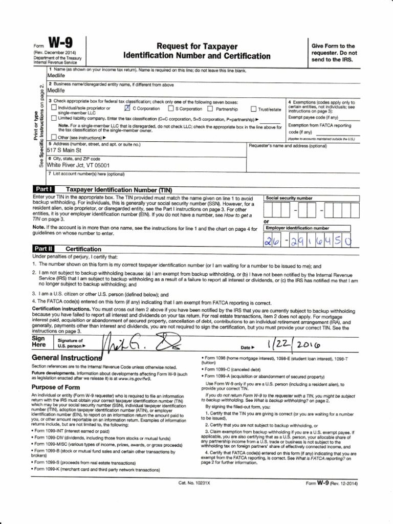 Attractive W9 990 Tax Form 2016 Medlife 2016 2017 1 1pdf Withholding
