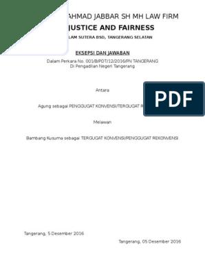Contoh Surat Jawaban Atas Gugatan Wanprestasi Contoh Lif Co Id