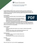 Job Description Quantitative Analyst
