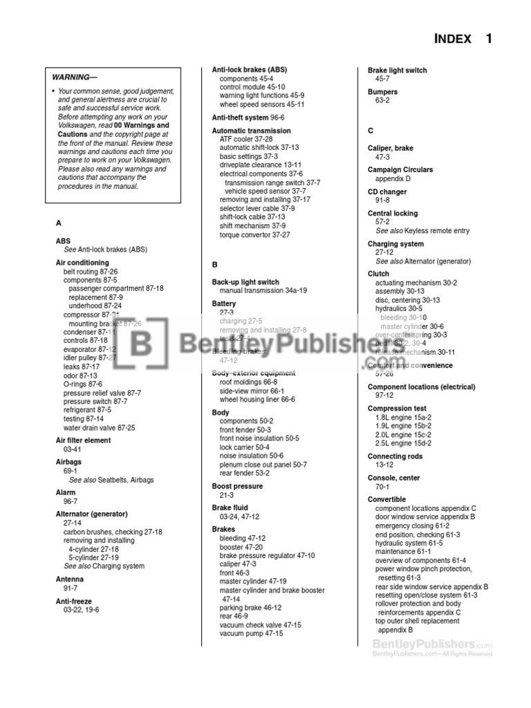 Volkswagen New Beetle Repair Manual  1998-2010