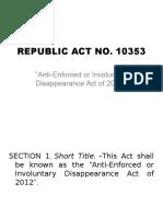 RA 10353 Desaparecidos Law