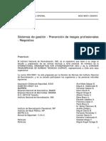 NCh18001.Of2004 Sistemas de Gestión - Prevensión de Riesgos Profesionales - Requisitos