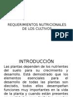 Requerimientos Nutricionales de Los Cultivos