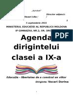 Agenda Dirigintelui clasa a IX-a
