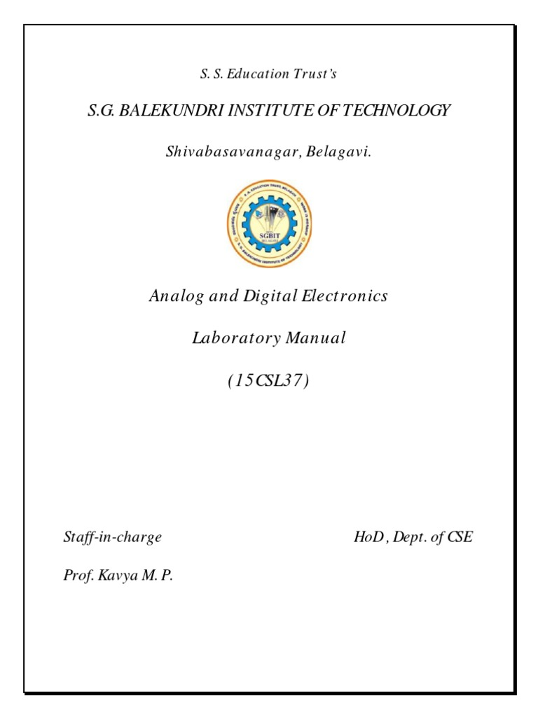 Analog and Digital Electronics (Ade) Lab Manual by Prof