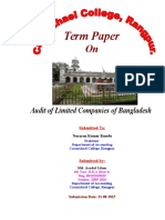 Audit of Limited Companies of Bangladesh COVER PAGE