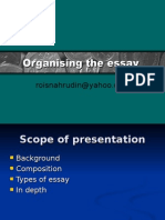 Organising the essay