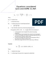 Governing Equations Considered for the Analysis and ASME 31