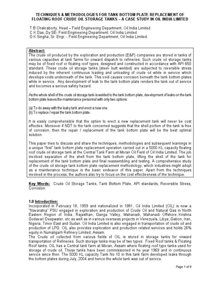 Techniques Amp Methodologies For Tank Bottom Plate