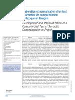 Élaboration Et Normalisation d'Un Test Informatisé de Compréhension Syntaxique en Français