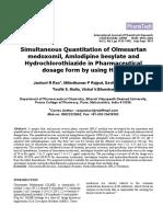 Taj Pharma Simultaneous Quantitation of Olmesartan Medoxomil