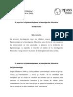 El Papel de La Epistemología en La Investigación Educativa