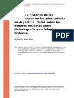 Agustin Santella (2015). Teorias e Historias de Los Trabajadores en Los Anos Setenta en Argentina. Notas Sobre Los Debates Recientes Entr (..)
